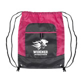 Nylon Pink Raspberry/Deep Smoke Pocket Drawstring Backpack-Widener Athletics