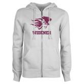 ENZA Ladies White Fleece Full Zip Hoodie-Primary Mascot Pink Glitter