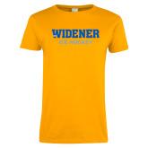 Ladies Gold T Shirt-Ice Hockey