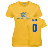 Ladies Gold T Shirt-Widener Pride, Custom Tee w/ Name and #