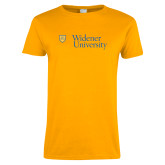 Ladies Gold T Shirt-Primary Mark with Shield