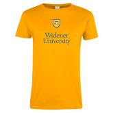 Ladies Gold T Shirt-Stacked University Mark