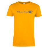 Ladies Gold T Shirt-Widener Pride Flat