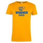 Ladies Gold T Shirt-Widener Pride Dad