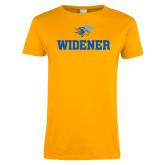 Ladies Gold T Shirt-Stacked Widener