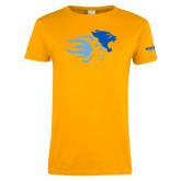 Ladies Gold T Shirt-Widener Mascots Mark