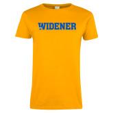 Ladies Gold T Shirt-Widener Wordmark