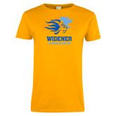 Ladies Gold T Shirt-Widener Athletics Distressed