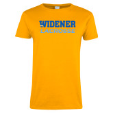Ladies Gold T Shirt-Lacrosse