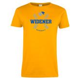 Ladies Gold T Shirt-Baseball Design