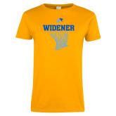 Ladies Gold T Shirt-Basketball Net Design