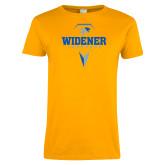 Ladies Gold T Shirt-Lacrosse Design