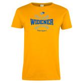 Ladies Gold T Shirt-Softball Design
