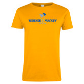 Ladies Gold T Shirt-Hockey Design