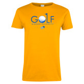 Ladies Gold T Shirt-Golf Design