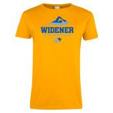 Ladies Gold T Shirt-Swimming Design