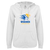 ENZA Ladies White V Notch Raw Edge Fleece Hoodie-Widener Athletics