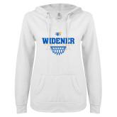 ENZA Ladies White V Notch Raw Edge Fleece Hoodie-Basketball Design