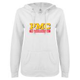 ENZA Ladies White V Notch Raw Edge Fleece Hoodie-PMC