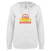 ENZA Ladies White V Notch Raw Edge Fleece Hoodie-PMC Stacked