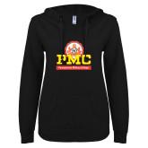 ENZA Ladies Black V Notch Raw Edge Fleece Hoodie-PMC Stacked
