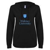 ENZA Ladies Black V Notch Raw Edge Fleece Hoodie-Stacked University Mark