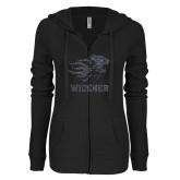 ENZA Ladies Black Light Weight Fleece Full Zip Hoodie-Primary Mascot Graphite Soft Glitter
