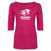 Ladies Dark Fuchsia Perfect Weight 3/4 Sleeve Tee-Widener Athletics