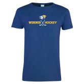 Ladies Royal T Shirt-Hockey Design
