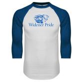 White/Royal Raglan Baseball T Shirt-Widener Pride