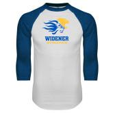 White/Royal Raglan Baseball T Shirt-Widener Athletics
