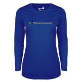 Ladies Syntrel Performance Royal Longsleeve Shirt-Primary Mark with Shield Flat
