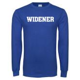 Royal Long Sleeve T Shirt-Widener Wordmark