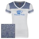Ladies White/Heathered Royal Juniors Varsity V Neck Tee-Widener Pride
