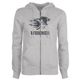 ENZA Ladies Grey Fleece Full Zip Hoodie-Primary Mascot Graphite Soft Glitter