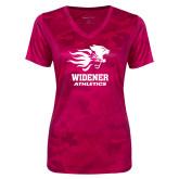 Ladies Pink Raspberry Camohex Performance Tee-Widener Athletics