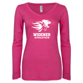 ENZA Ladies Hot Pink Long Sleeve V Neck Tee-Widener Athletics