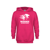 Youth Raspberry Fleece Hoodie-Widener Athletics
