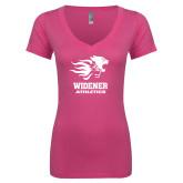 Next Level Ladies Junior Fit Ideal V Pink Tee-Widener Athletics