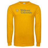 Gold Long Sleeve T Shirt-Primary Mark with Shield