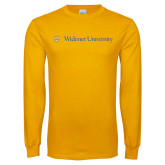 Gold Long Sleeve T Shirt-Primary Mark with Shield Flat