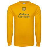 Gold Long Sleeve T Shirt-Stacked University Mark