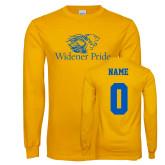 Gold Long Sleeve T Shirt-Widener Pride, Custom Tee w/ Name and #