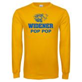 Gold Long Sleeve T Shirt-Widener Pride Pop Pop