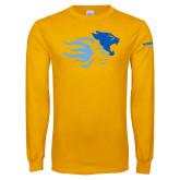 Gold Long Sleeve T Shirt-Widener Mascots Mark