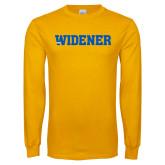 Gold Long Sleeve T Shirt-Widener Wordmark