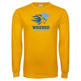 Gold Long Sleeve T Shirt-Widener Athletics Distressed