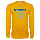 Gold Long Sleeve T Shirt-Basketball Net Design