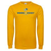 Gold Long Sleeve T Shirt-Hockey Design