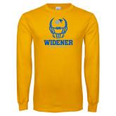 Gold Long Sleeve T Shirt-Football Helmet Design